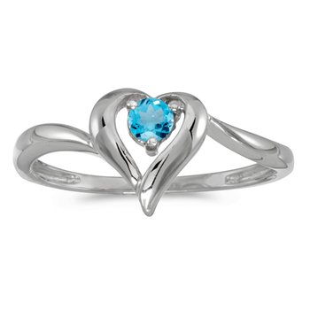 14k White Gold Round Blue Topaz Heart Ring