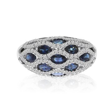 14K White Gold Basket Weave Sapphire and Diamond Ring