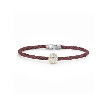 Burgundy Cable Essential Stackable Bracelet with Single Large Round Diamond station set in 18kt Yellow Gold