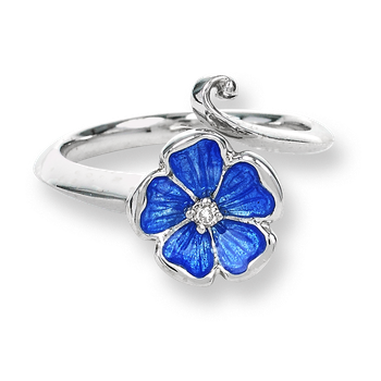 Sterling Silver Rose Ring-Blue.  Diamonds.