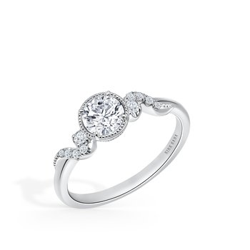 Home Try On Round Milgrain Halo Diamond Replica Engagement Ring