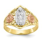 Fine Jewelry by JBD 10k Two-tone & Rhodium Our Lady of Guadalupe Ring