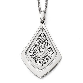 Leslie's Sterling Silver Polished Scratch-finsh Filigree Pendant