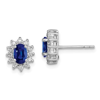 Sterling Silver Rhodium-plated CZ/Synthetic Blue Sapphire Earrings