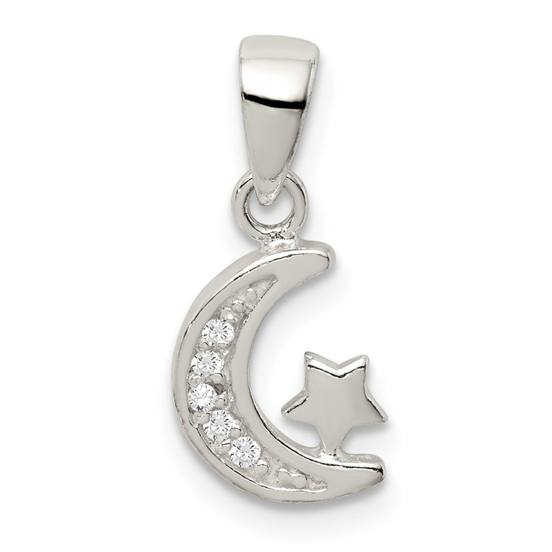 Quality Gold Sterling Silver CZ Star & Crescent Moon Pendant
