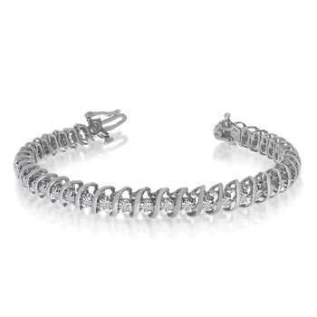 "14k White Gold 2 Ct. ""S"" Illusion Bracelet"