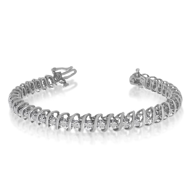 "Color Merchants 14k White Gold 2 Ct. ""S"" Illusion Bracelet"