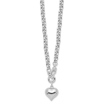 Sterling Silver Polished Rolo w/Dangle Heart Charm Necklace