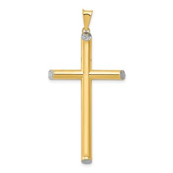 14K W/Rhodium 3-D Hollow D/C Cross Pendant