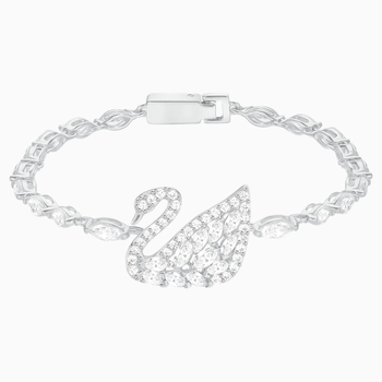 Swan Lake Bracelet, White, Rhodium Plating