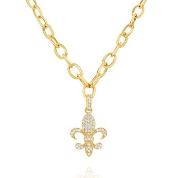 14k Bold Gold Link Chain with Diamond Fleur-de-lis