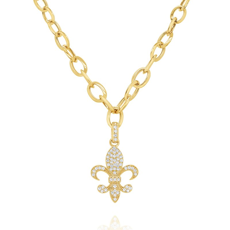MAZZARESE Fashion 14k Bold Gold Link Chain with Diamond Fleur-de-lis