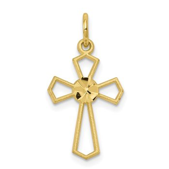 10k Yellow Cross Charm