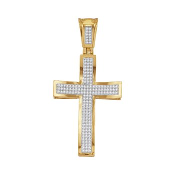 10kt Yellow Gold Mens Round Diamond Concave Cross Charm Pendant 1/2 Cttw