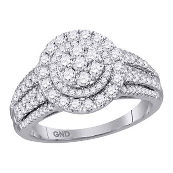 14kt White Gold Womens Round Diamond Concentric Circle Cluster Bridal Wedding Engagement Ring 1.00 Cttw