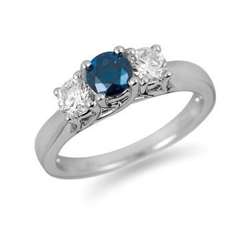 14K WG Enhanced Blue & White Diamond PPF Ring