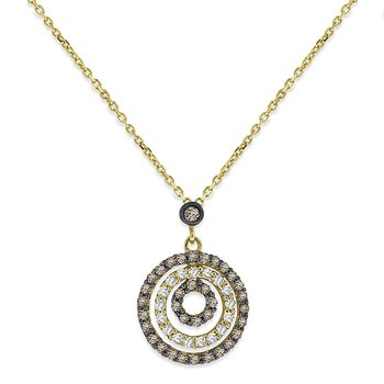 Champagne And White Diamond Circle Necklace in 14k White Gold with 52 Diamonds weighing .44ct tw.