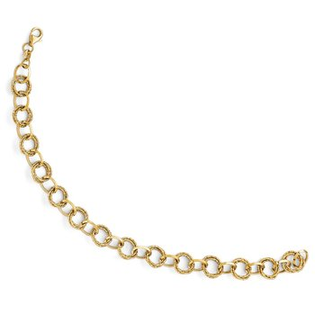 Leslie's 14k Polished and Textured Fancy Link Bracelet