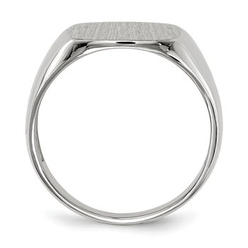 14k White Gold 14.5mm x 14.5mm Open Back Men's Signet Ring