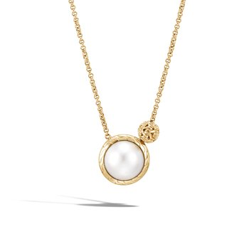 Classic Chain Necklace in 18K Gold with Pearl