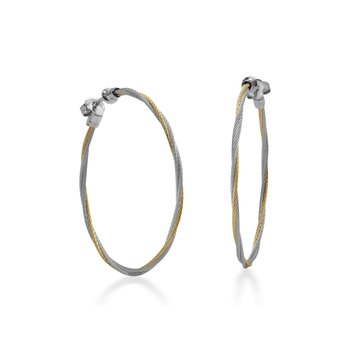 Yellow & Grey Cable 1.5″ Hoop Earrings with 18kt White Gold