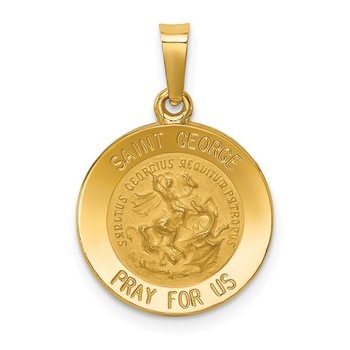 14k Polished and Satin St George Medal Hollow Pendant