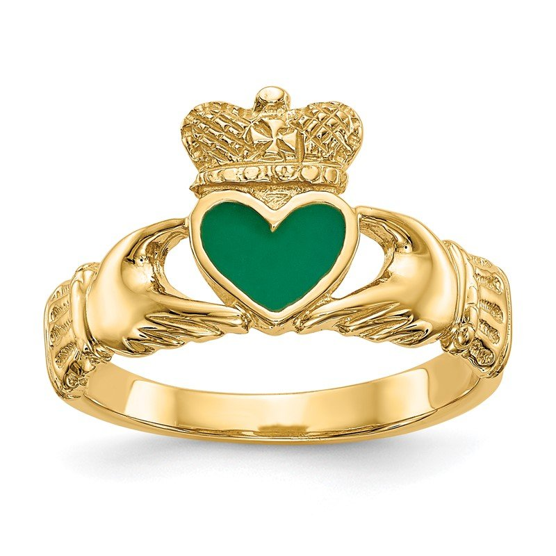 Quality Gold 14k Enamel Claddagh Ring