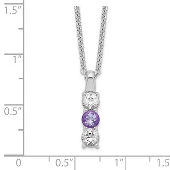 Sterling Silver Survivor Clear & Purple Swarovski Topaz Courage Necklace