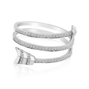 14k White Gold Arrow Diamond Fashion Ring