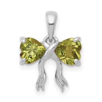 14k White Gold Polished Peridot Bow Pendant