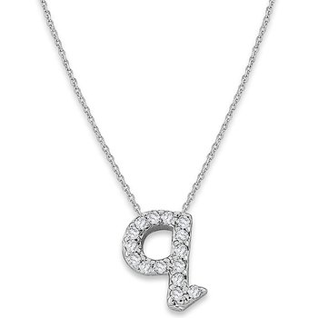 "Diamond Baby Typewriter Initial ""Q"" Necklace in 14k White Gold with 15 Diamonds weighing .08ct tw."