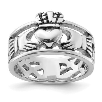 Sterling Silver Rhodium-plated and Antiqued Claddagh Ring