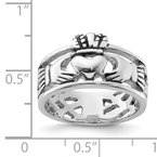 Quality Gold Sterling Silver Rhodium-plated and Antiqued Claddagh Ring