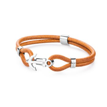 316L stainless steel, ocher leather and Swarovski® Elements crystal
