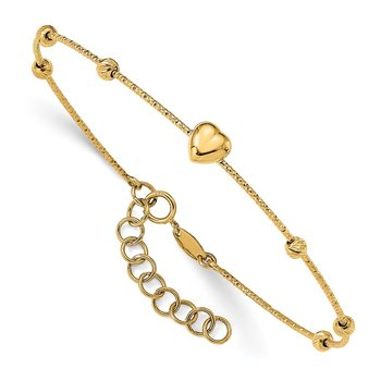 14K D/C Beads with Heart w/1in ext. Flexible Bangle Bracelet