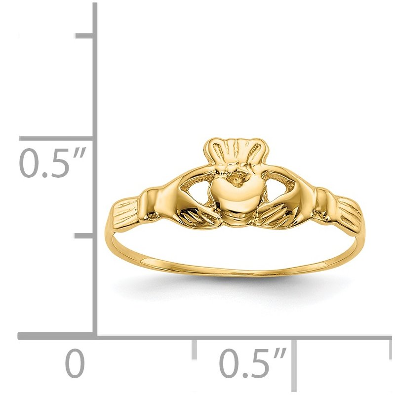 Quality Gold 14k Childs Polished Claddagh Ring