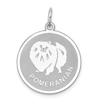 Sterling Silver Rhodium-plated Pomeranian Disc Charm