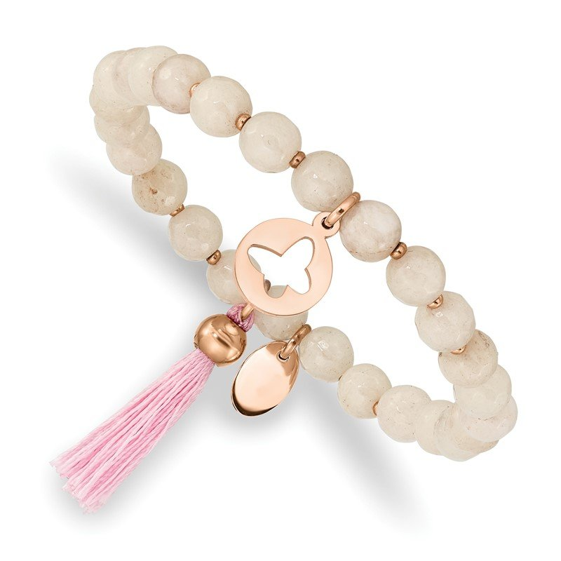 Chisel Stainless Steel Polished Rose IP Butterfly Pink Agate Beaded Stretch Bracel