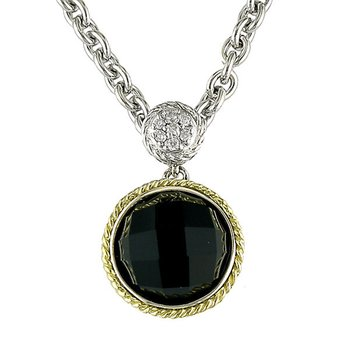 18kt and Sterling Silver Round Black Onyx and Diamond Pendant with Chain