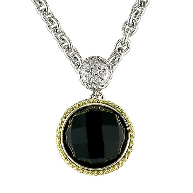 Andrea Candela 18kt and Sterling Silver Round Black Onyx and Diamond Pendant with Chain