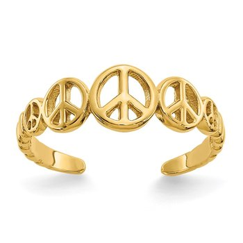 14k Peace Sign Toe Ring