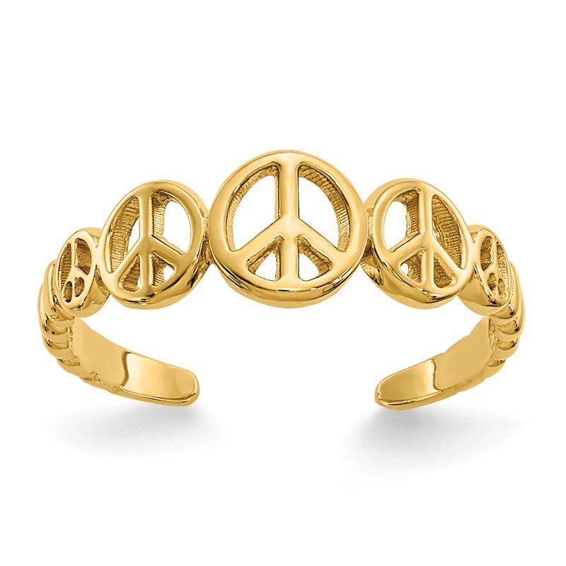 Quality Gold 14k Peace Sign Toe Ring