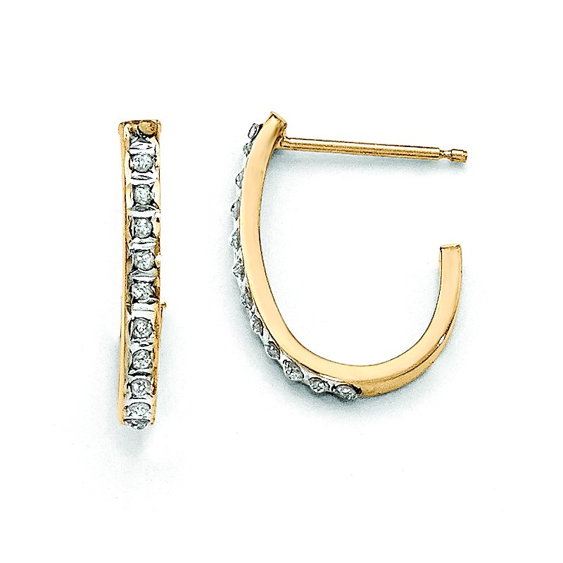 Quality Gold 14k Diamond Fascination Post J Hoop Earrings