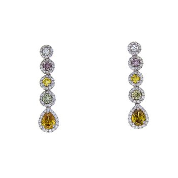 FANCY SHAPE & COLOR DIAMOND EARRINGS