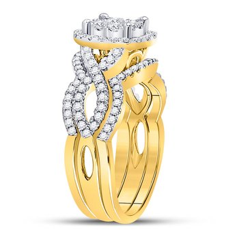 14kt Yellow Gold Womens Round Diamond 3-Piece Bridal Wedding Ring Set 1.00 Cttw