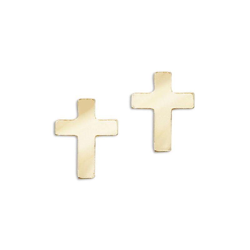 Color Merchants 14K Yellow Gold Baby Cross Screwback Earrings