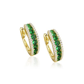 Diamond-Lined Emerald Fashion Hoops