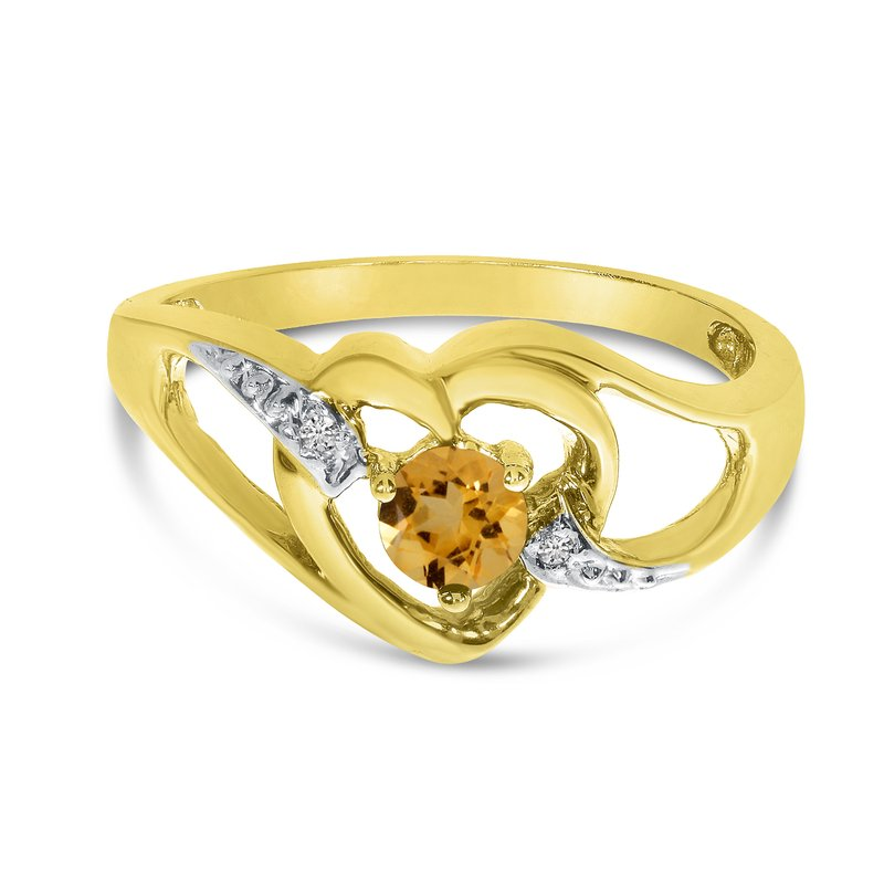 Color Merchants 14k Yellow Gold Round Citrine And Diamond Heart Ring