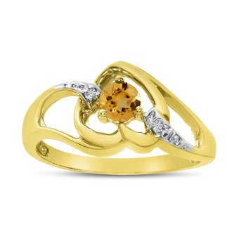 14k Yellow Gold Round Citrine And Diamond Heart Ring