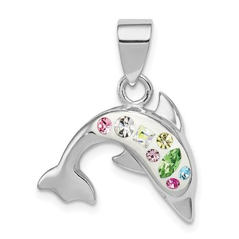 Sterling Silver Rhodium Plated Stellux Crystal Dolphin Pendant